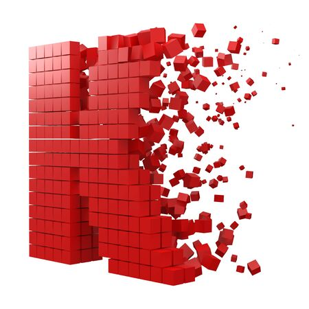 letter K shaped data block. version with red cubes. 3d pixel style vector illustration. suitable for blockchain, technology, computer and abstract themes. Иллюстрация