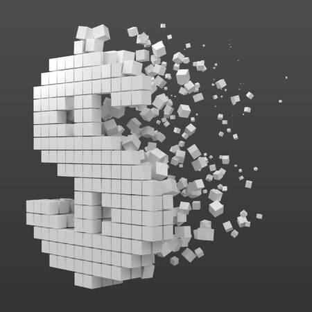 dollar sign shaped data block. version with white cubes. 3d pixel style vector illustration. suitable for blockchain, technology, computer and abstract themes.