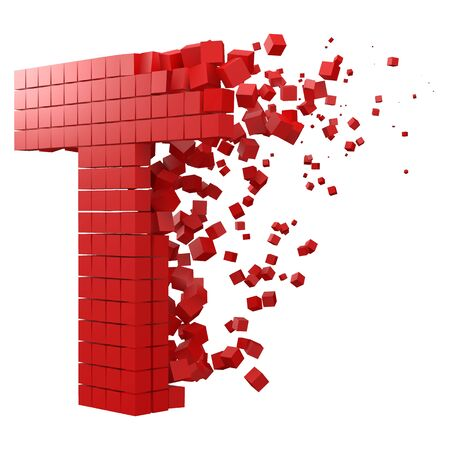 letter T shaped data block. version with red cubes. 3d pixel style vector illustration. suitable for blockchain, technology, computer and abstract themes.