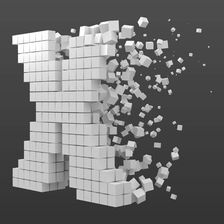 letter X shaped data block. version with white cubes. 3d pixel style vector illustration. suitable for blockchain, technology, computer and abstract themes. Иллюстрация