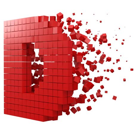 letter D shaped data block. version with red cubes. 3d pixel style vector illustration. suitable for blockchain, technology, computer and abstract themes.