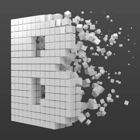 letter B shaped data block. version with white cubes. 3d pixel style vector illustration. suitable for blockchain, technology, computer and abstract themes. Иллюстрация