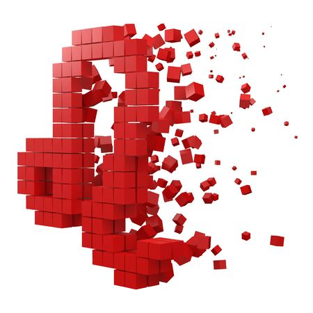 leo zodiac sign shaped data block. version with red cubes. 3d pixel style vector illustration. suitable for blockchain, technology, computer and abstract themes.