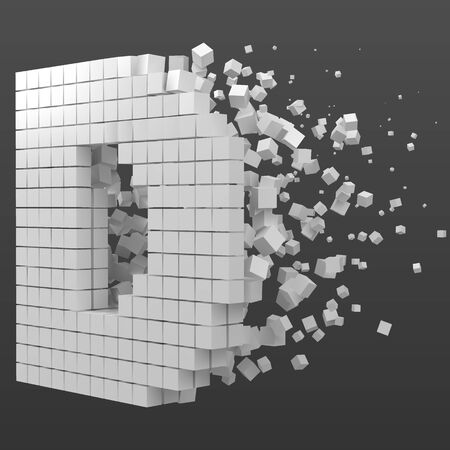 letter D shaped data block. version with white cubes. 3d pixel style vector illustration. suitable for blockchain, technology, computer and abstract themes. Иллюстрация