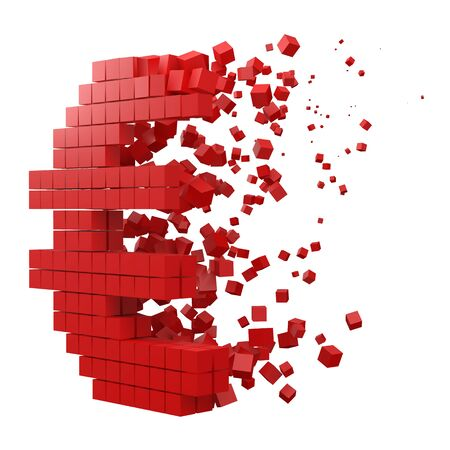 euro sign shaped data block. version with red cubes. 3d pixel style vector illustration. suitable for blockchain, technology, computer and abstract themes.