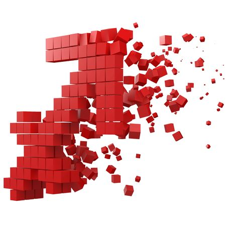 sagittarius zodiac sign shaped data block. version with red cubes. 3d pixel style vector illustration. suitable for blockchain, technology, computer and abstract themes.