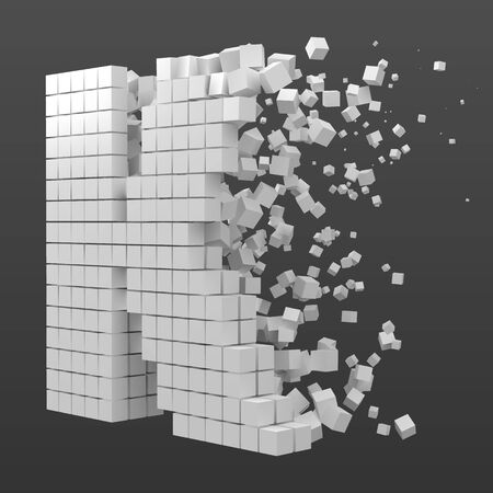 letter K shaped data block. version with white cubes. 3d pixel style vector illustration. suitable for blockchain, technology, computer and abstract themes.