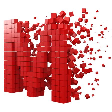 letter M shaped data block. version with red cubes. 3d pixel style vector illustration. suitable for blockchain, technology, computer and abstract themes. Иллюстрация