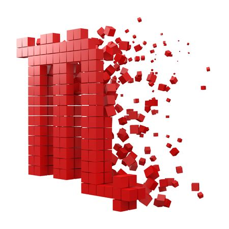 scorpio zodiac sign shaped data block. version with red cubes. 3d pixel style vector illustration. suitable for blockchain, technology, computer and abstract themes. Иллюстрация