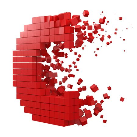 letter C shaped data block. version with red cubes. 3d pixel style vector illustration. suitable for blockchain, technology, computer and abstract themes. Иллюстрация