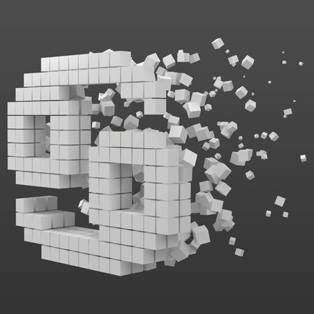cancer zodiac sign shaped data block. version with white cubes. 3d pixel style vector illustration. suitable for blockchain, technology, computer and abstract themes. Иллюстрация