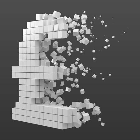 pound sign shaped data block. version with white cubes. 3d pixel style vector illustration. suitable for blockchain, technology, computer and abstract themes.