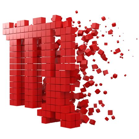 virgo zodiac sign shaped data block. version with red cubes. 3d pixel style vector illustration. suitable for blockchain, technology, computer and abstract themes. Иллюстрация