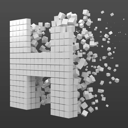 letter H shaped data block. version with white cubes. 3d pixel style vector illustration. suitable for blockchain, technology, computer and abstract themes.