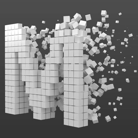 letter M shaped data block. version with white cubes. 3d pixel style vector illustration. suitable for blockchain, technology, computer and abstract themes.