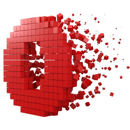 letter O shaped data block. version with red cubes. 3d pixel style vector illustration. suitable for blockchain, technology, computer and abstract themes.