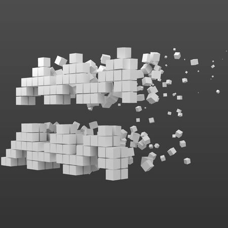 aquarius zodiac sign shaped data block. version with white cubes. 3d pixel style vector illustration. suitable for blockchain, technology, computer and abstract themes.