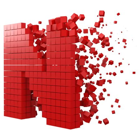 letter N shaped data block. version with red cubes. 3d pixel style vector illustration. suitable for blockchain, technology, computer and abstract themes. Иллюстрация