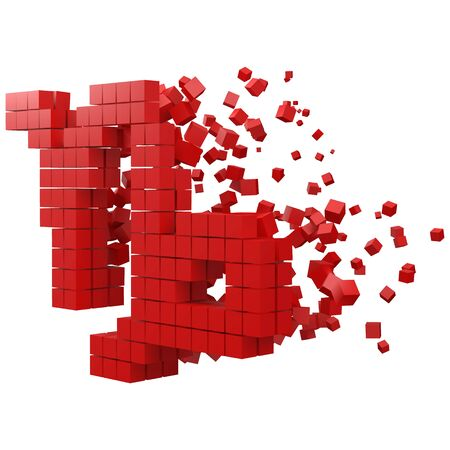 capricorn zodiac sign shaped data block. version with red cubes. 3d pixel style vector illustration. suitable for blockchain, technology, computer and abstract themes.