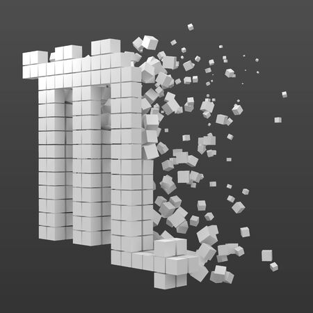 scorpio zodiac sign shaped data block. version with white cubes. 3d pixel style vector illustration. suitable for blockchain, technology, computer and abstract themes.