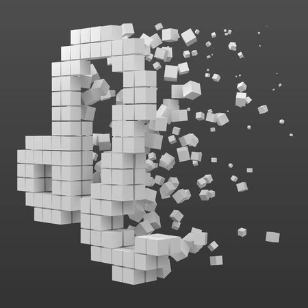 leo zodiac sign shaped data block. version with white cubes. 3d pixel style vector illustration. suitable for blockchain, technology, computer and abstract themes.