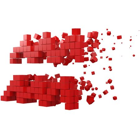 aquarius zodiac sign shaped data block. version with red cubes. 3d pixel style vector illustration. suitable for blockchain, technology, computer and abstract themes.