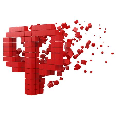 aries zodiac sign shaped data block. version with red cubes. 3d pixel style vector illustration. suitable for blockchain, technology, computer and abstract themes.