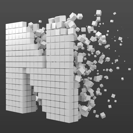 letter N shaped data block. version with white cubes. 3d pixel style vector illustration. suitable for blockchain, technology, computer and abstract themes. Иллюстрация