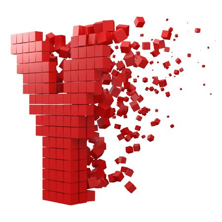 letter Y shaped data block. version with red cubes. 3d pixel style vector illustration. suitable for blockchain, technology, computer and abstract themes.