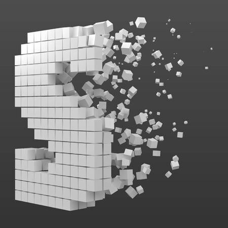 letter S shaped data block. version with white cubes. 3d pixel style vector illustration. suitable for blockchain, technology, computer and abstract themes.