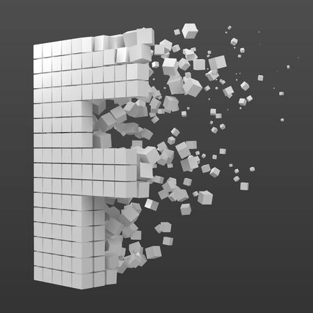 letter F shaped data block. version with white cubes. 3d pixel style vector illustration. suitable for blockchain, technology, computer and abstract themes.