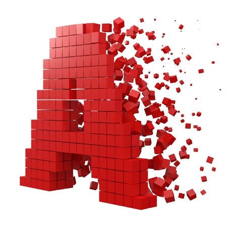 letter A shaped data block. version with red cubes. 3d pixel style vector illustration. suitable for blockchain, technology, computer and abstract themes.