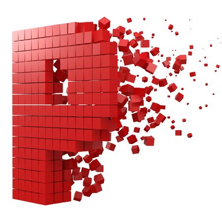 letter P shaped data block. version with red cubes. 3d pixel style vector illustration. suitable for blockchain, technology, computer and abstract themes.