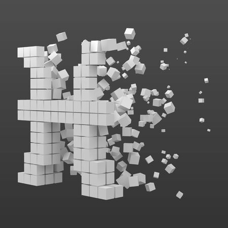 pisces zodiac sign shaped data block. version with white cubes. 3d pixel style vector illustration. suitable for blockchain, technology, computer and abstract themes.