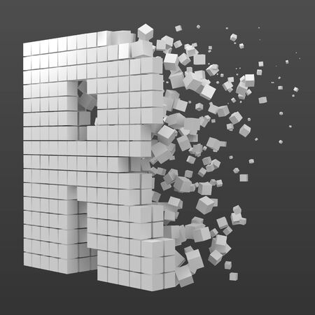 letter R shaped data block. version with white cubes. 3d pixel style vector illustration. suitable for blockchain, technology, computer and abstract themes.