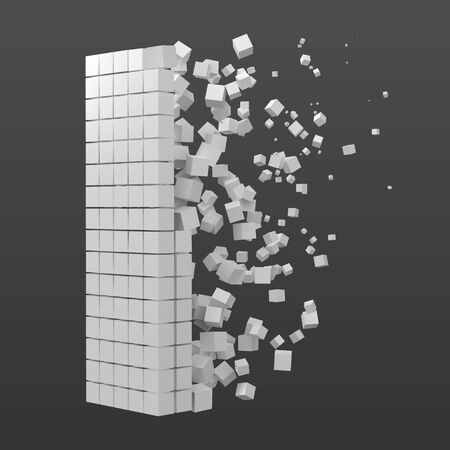 letter I shaped data block. version with white cubes. 3d pixel style vector illustration. suitable for blockchain, technology, computer and abstract themes.