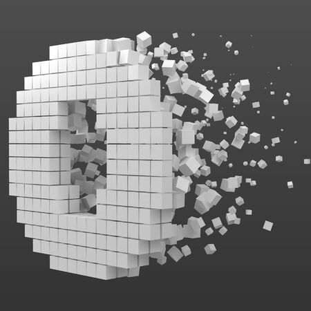 letter O shaped data block. version with white cubes. 3d pixel style vector illustration. suitable for blockchain, technology, computer and abstract themes.