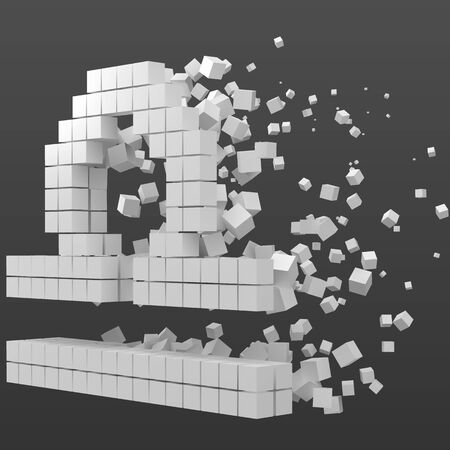 libra zodiac sign shaped data block. version with white cubes. 3d pixel style vector illustration. suitable for blockchain, technology, computer and abstract themes. Иллюстрация