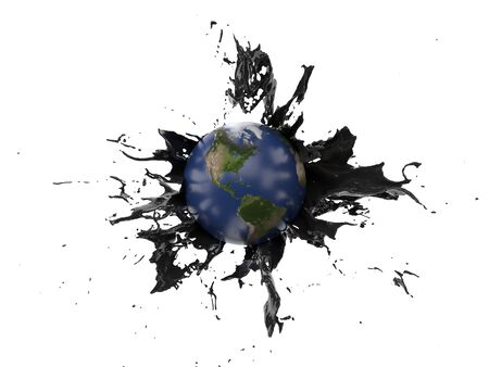 oil splash covering the earth. suitable for fuel, oil, energy and future themes. 3d illustration Фото со стока