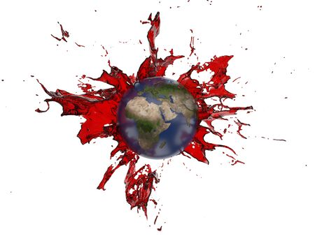 red oil splash covering the earth. suitable for fuel, oil, energy and future themes. 3d illustration Фото со стока