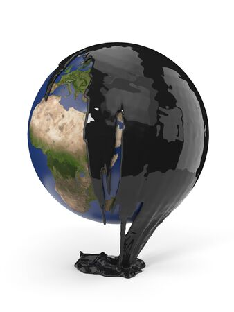 earth covering with petrol or oil. suitable for fuel, oil, enery and future themes. 3d illustration Фото со стока