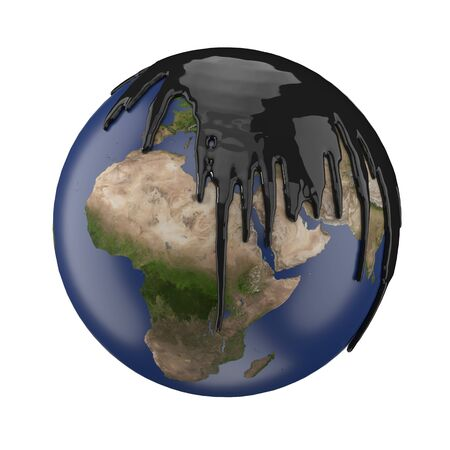 earth covering with petrol or oil. suitable for fuel, oil, energy and future themes. 3d illustration