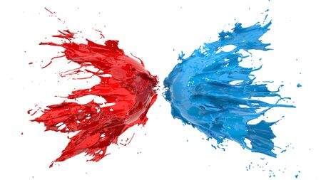 red and blue fluid splash on white background. suitable for fluid, color and paint themes. 3d illustration Фото со стока