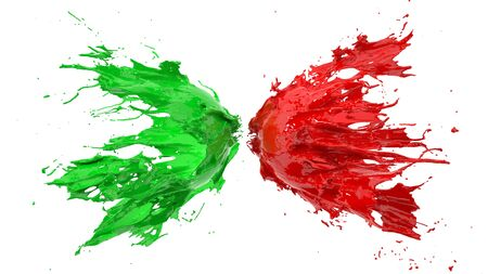 red and green fluid splash on white background. suitable for fluid, color and paint themes. 3d illustration