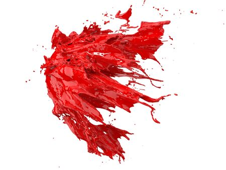 red fluid splash on white background. suitable for fluid, color and paint themes. 3d illustration Фото со стока