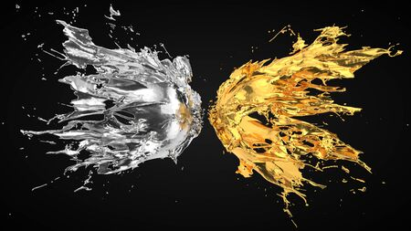 silver and golden fluid splash on black background. suitable for fluid, color and paint themes. 3d illustration Фото со стока