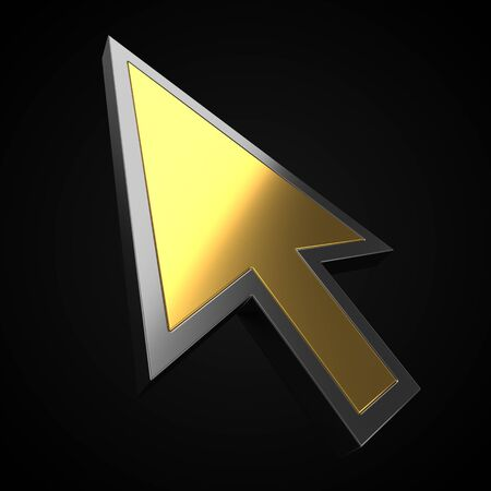 golden luxury cursor on black background. suitable for internet, computer and technology themes. 3d illustration
