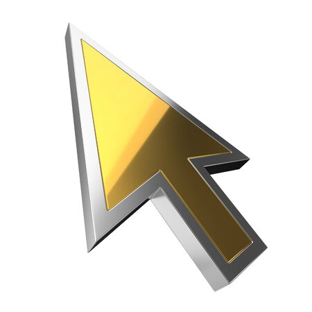golden luxury cursor on white background. suitable for internet, computer and technology themes. 3d illustration