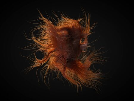 red hair abstract. red grows freely moving in air. wavy hair forms. suitable for beauty, fashion and hair themes. 3d illustration Фото со стока - 128010248