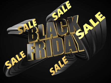 black friday text with small words covering it. sale texts rises from background and goes front of big text. 3d illustration
